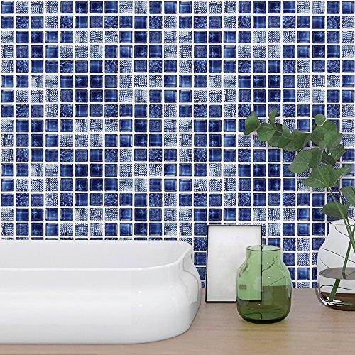 Hiser 18 Piezas Mármol Adhesivos Decorativos Azulejos Pegatinas para Baldosas del Baño/Cocina Estilo Mosaico Mármol - Marroquí Resistente al Agua Pegatina de Pared (Azul,10 x 10 cm)