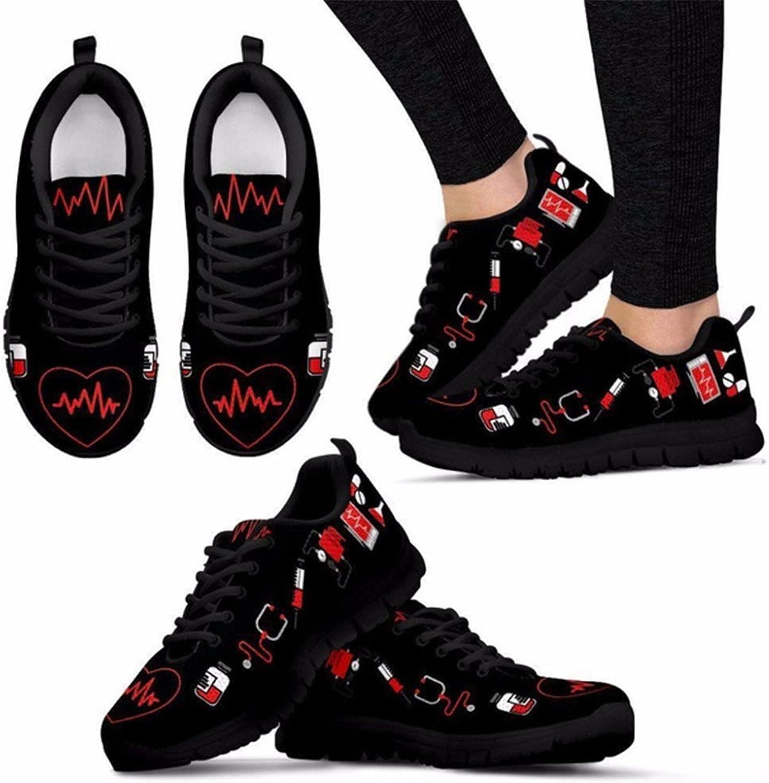 Sannovo Nurse Heart Printing Women Running Sneaker Girl Flat Lace-up Walking shoes