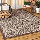 JONATHAN Y Madrid Vintage Filigree Textured Weave Indoor/Outdoor Taupe/Espresso 8 ft. x 10 ft. Area Rug, Classic,EasyCleaning,HighTraffic,LivingRoom,Backyard, Non Shedding