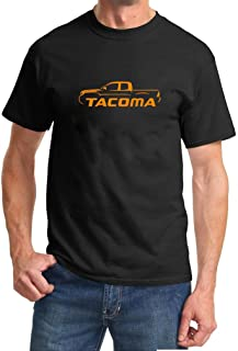 Maddmax Design Toyota Tacoma Pickup Truck Classic Color Orange Design Black Tshirt