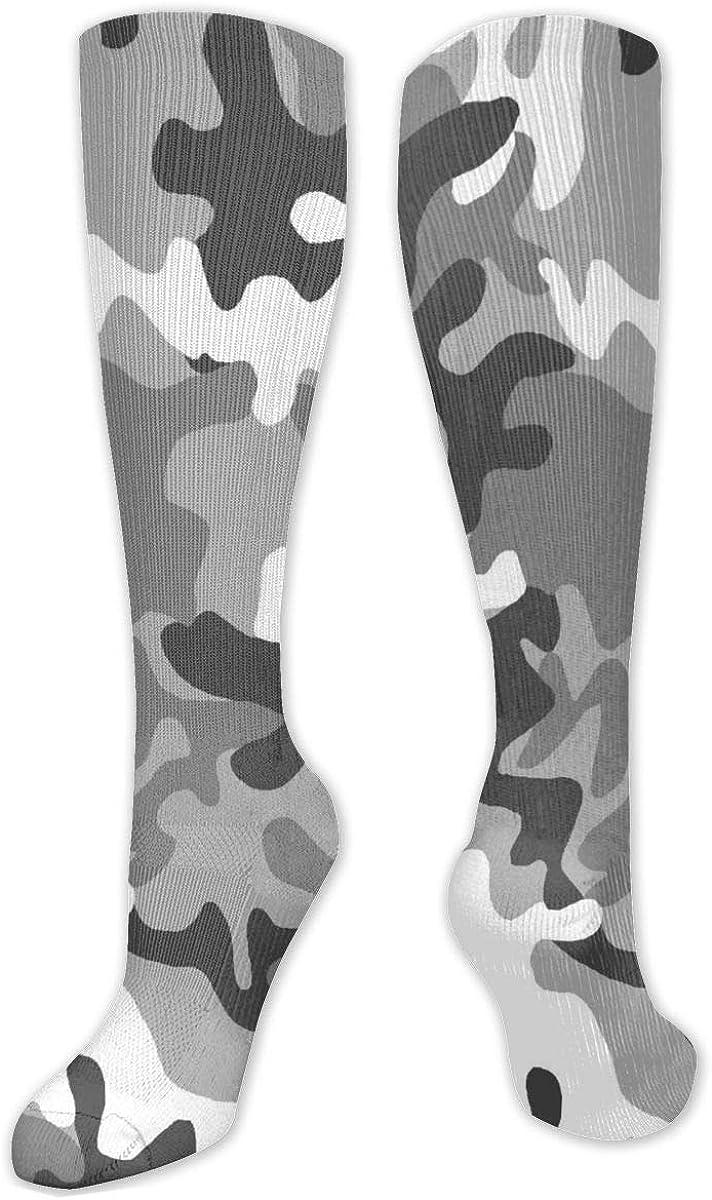 Grey Camo Pattern Knee High Socks Leg Warmer Dresses Long Boot Stockings For Womens Cosplay Daily Wear
