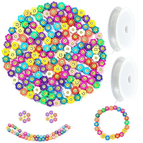Mity rain 200 Pcs Sun Flower Smile Face Beads ,10mm Colorful Polymer Clay Spacer Happy Face Beads with 2pcs Crystal Stretch Cords for DIY Jewelry Bracelet, Earring, Necklace, Craft Making Supplies