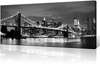 Innopics Brooklyn Bridge Large Canvas Wall Art New York Black and White Cityscape Picture Print Manhattan Night Scenery Printed Painting Modern Home Decor Framed for Office Living Room Decoration