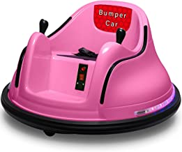 CBMOUN Kids Race Toy 6V Electric Ride On Bumper Car Vehicle Remote Control 360 Spin DIY Numbers 00-99 ASTM-Certified Pink