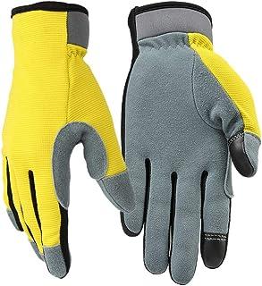 Lioobo 1 par de luvas utilitárias de couro respirável flexível com tela sensível ao toque luvas para mecânica de artesanat...