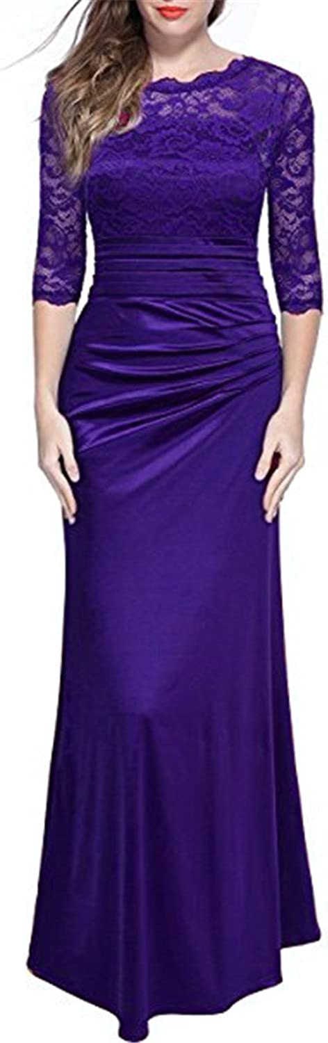 LEJY Women's Lace 2 3 Sleeve Long Slim Ruched Evening Dress Prom Party Dress