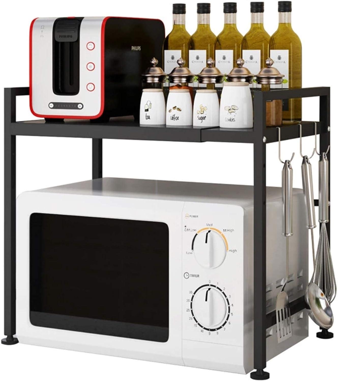 BRIAN & DANY Extensible Soporte Microondas, Estanterias de Microondas con 3 Ganchos Rejilla de Cocina Multifuncional, Sostener Capacidad de Peso de 25 kg, Negro