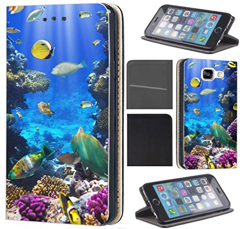 Samsung Galaxy A5 2017 A520 Hülle von CoverHeld Premium Flipcover Schutzhülle Flip Hülle Motiv (1520 Fische Meer Bunt Riff)