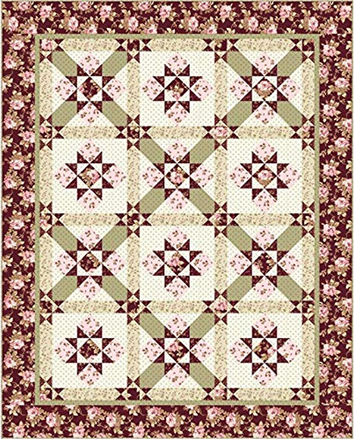 Burgundy & Blush Stars at Twilight Quilt Kit Maywood Studio