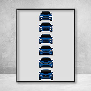 Subaru WRX Poster Print Wall Art of the History and Evolution of the Impreza WRX Generations (Rally Blue Cars)