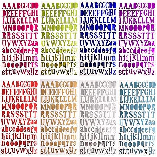 8 Colors Letter Stickers Self Adhesive Alphabet Stickers 8 Sheets Lettres Adhésives Alphabet Lettres Autocollantes Stickers pour Scrapbooking Cadeau Bricolage Décoration de Mariage