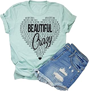 Beautiful Crazy T-Shirt Women Funny Cute Inspirational Letter Printed Graphic Casual Tee Tops