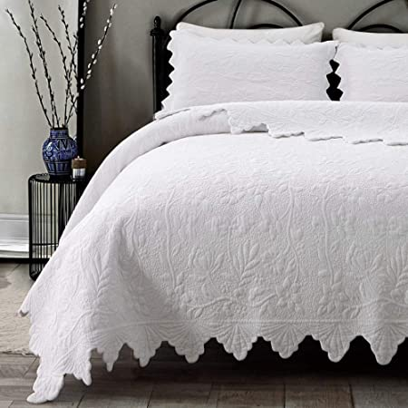 Brandream White Quilts Set Queen King Size Coverlet Set Farmhouse Bedding 100% Cotton Queen Size Quilted Bedspreads(Quilt 98x106 with Standard Size Pillow Shams)