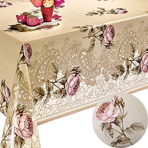 Decoser Heavy Duty Flannel Backed Vinyl Tablecloth with Flannel Backing Easy to Wipe-Clean Oilcloth Waterproof Plastic Rectangle 55x90 inch Table Cover Beige