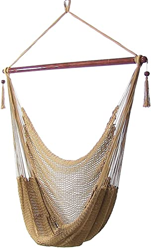 2021 Sunnydaze Hanging Rope Hammock Chair Swing - Caribbean Style 2021 Extra Large Hanging Chair for Backyard & Patio high quality - Tan outlet sale