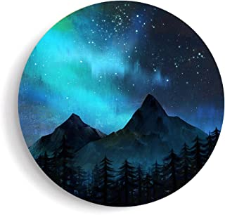 SUMGAR Canvas Wall Art Bedroom Blue Pictures Navy Mountain Paintings Landscape Starry Night Artwork Round,16x16 inch