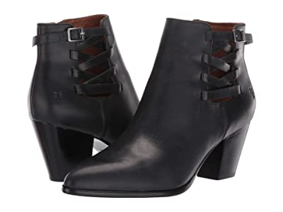 Frye Reed Strappy Bootie (Black Waxed Pull Up) Women