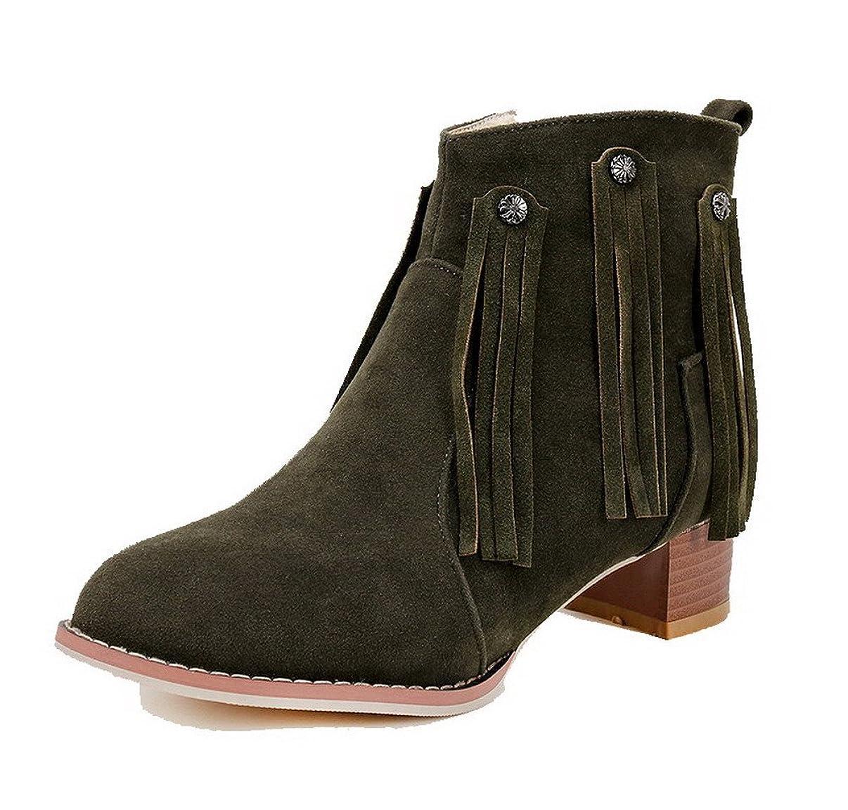 ミシン処分した震え(ウンファッション) WeenFashion レディース PUの皮 純色 ジッパー ラウンドトゥ ローヒール ブーツ