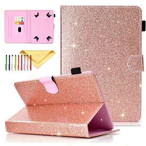 Uliking Universal Folio Case for All 6.5-7.5 inch Tablet, Uliking PU Leather Bling Glitter [Card Slots] Stand Cover for Paperwhite, Galaxy Tab 7.0 and All 7.0 Inch Tablet, Rosegold
