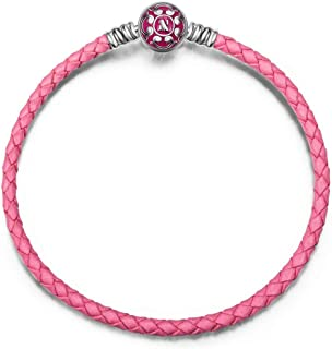 NINAQUEEN Christmas Bracelet Gifts 7.5 Inches Pink Genuine Leather Women Bracelet with 925 Sterling Silver Snap Clasp Charms, Gifts for Women Bracelets for Charms