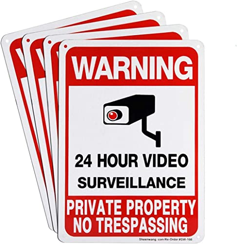 Sheenwang 4-Pack Private Property No Trespassing Sign, Video Surveillance Signs Outdoor, UV Printed .040 Mil Rust Fre...