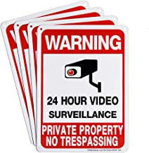 Sheenwang 4-Pack Private Property No Trespassing Sign, Video Surveillance Signs Outdoor, UV Printed .040 Mil Rust Free Alu...