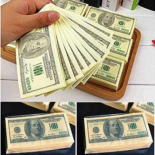 Forum Novelties 2 Packs 100 Dollar Bill Facial Tissue Napkins Benjamins Fake Money Gag Gift product image