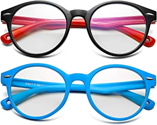 Kids Blue Light Blocking Glasses Silicone Flexible Round Eyeglasses Frame with Glasses Rope, for Children Age 3-12