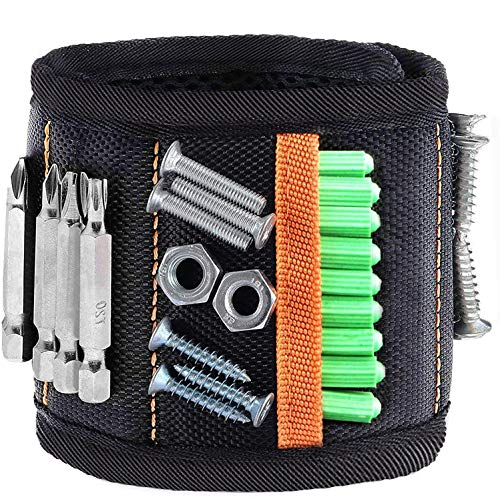 Magnetic Wristband Tool Belts,Goldenguy Unique Tool Embedded with 15 Special Super Strong Magnets,Holding Screws Gadgets Gift for Dad, Husband, Boyfriend, Handyman Mechanics