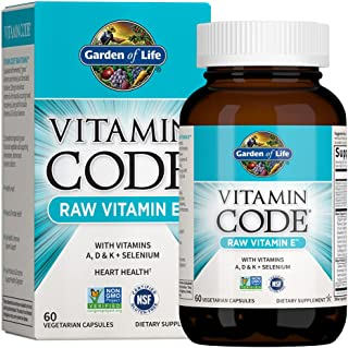 Garden of Life Vitamin E - Vitamin Code Raw Vitamin E Supplement with Vitamins A, D & K Plus Selenium, Fruit, Veggies & Pr...