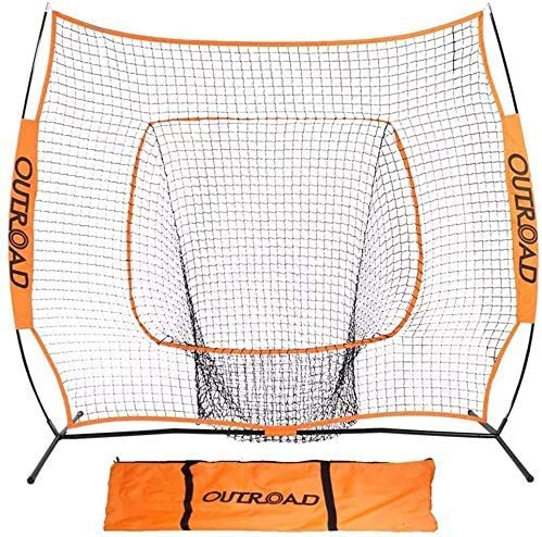 Outroad Baseball Net 10' x 10' Batting and Pitching Portable Practice Net with Bow Frame and Strike Zone Target, Removable Ball Holder Batting Practice with Orange Carry Bag