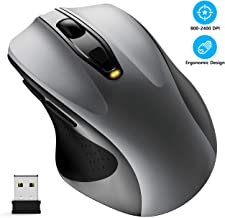 Wireless Mouse, WISFOX 2.4G Full Size Computer Mouse Wireless Ergonomic Mouse 6 Buttons Laptop Mouse USB Mouse with Nano Receiver 5-Level DPI Adjustable Cordless Wireless Mice for Windows(Grey)