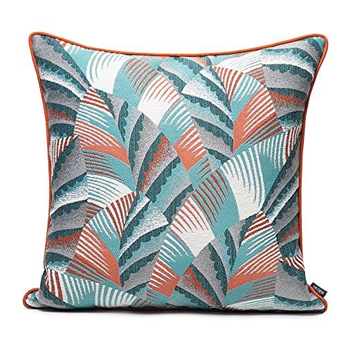 Cojín de cojín naranja y azul patrón escalonado patrón de estilo aristocrático estilo de almohada con relleno de sofá sala de estar de coche accesorios decorativos decoración de cama casera 45 x 45 cm