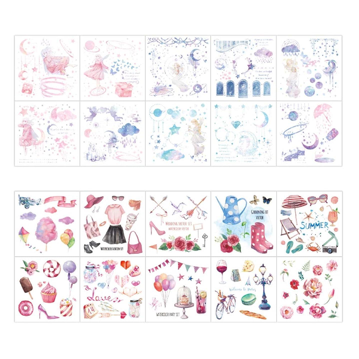 Cute Washi Paper Stationery Sticker Set Fantasy Girl Star Moon Fairy Summer Girl's Travel Stuff Dress Gardening Tool Heart Balloon Stickers for Scrapbooking Album Planner Diary Notebook DIY Craft (C)