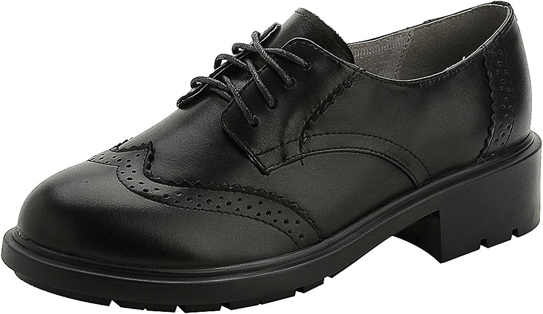 Rismart Women's Formal Dress Wingtip Lace Up Oxfords Leather Brogue shoes
