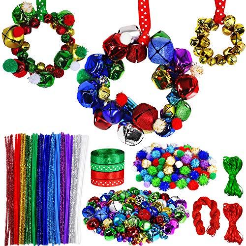 Winlyn 475 Set Christmas Jingle Bell Wreath Christmas Tree Ornaments Craft Kit Jingle Bell Metallic Chenille Stems Glitter Pom-Poms Ribbon Assortment for Kids Holiday Xmas Bracelets Necklaces Artwork
