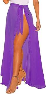 fdf146012c XAKALAKA Women s Sheer Slit Sarong Sexy Swimwear Cover up Belted Wrap Maxi  Skirt