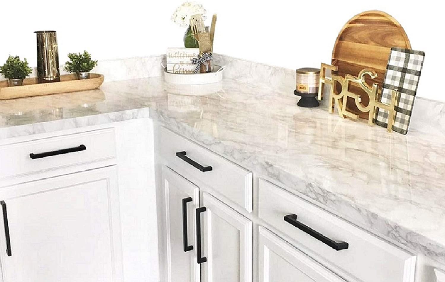 Countertop Transformation Marble White Grey Faux Marble Film 3' W x 6'L Why Paint. Just Peel and Stick.