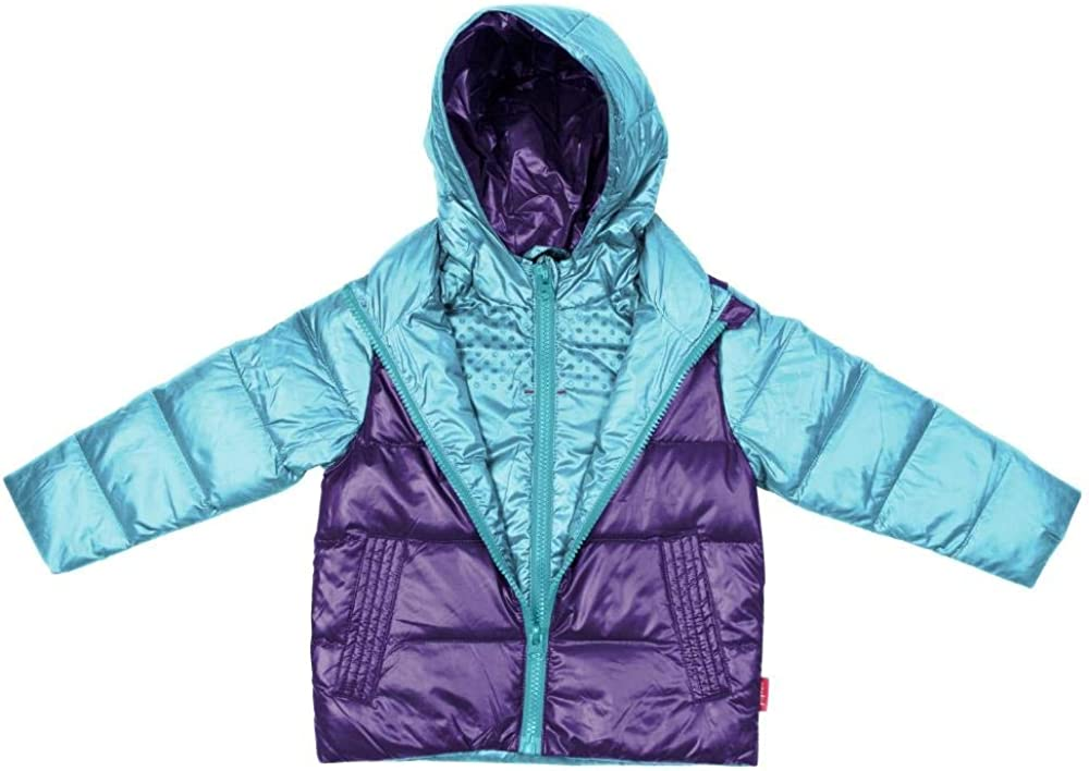 Aqua//Purple One Kid Car Seat Safety Road Coat Down Jacket