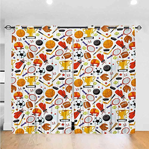 Mozenou Sport Kids Curtain Abstract Cartoon Style Sporting Goods Tennis Racket Ball Bowling Star Filled Pattern The Best Choice for Bedroom and Living Room W96 x L84 Multicolor