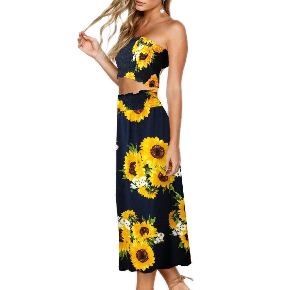 Available at Amazon: YISHIWEI Women's Floral Top Maxi Skirt Set 2 Piece Outfit Dress