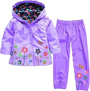 Toddler Baby Boy Girl Raincoat Windbreaker Outfits Clothes 1-5 Years,Kid Trench Coat Hoodies Pants Waterproof Set