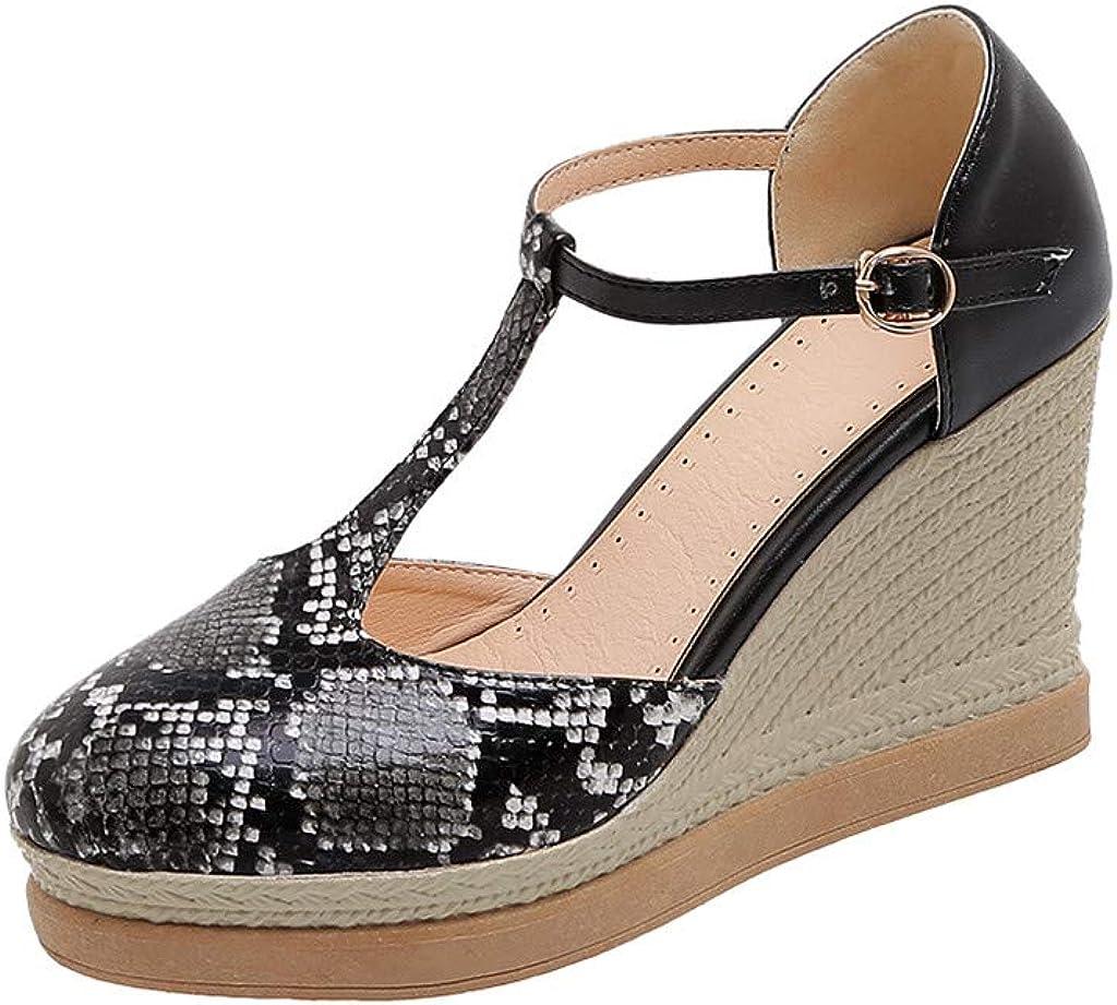 GFHFHITJ Women's Ankle Strap Sandals,Fashion Snake Grain Wedges Sandals Round Toe Non-Slip Buckle Sandals