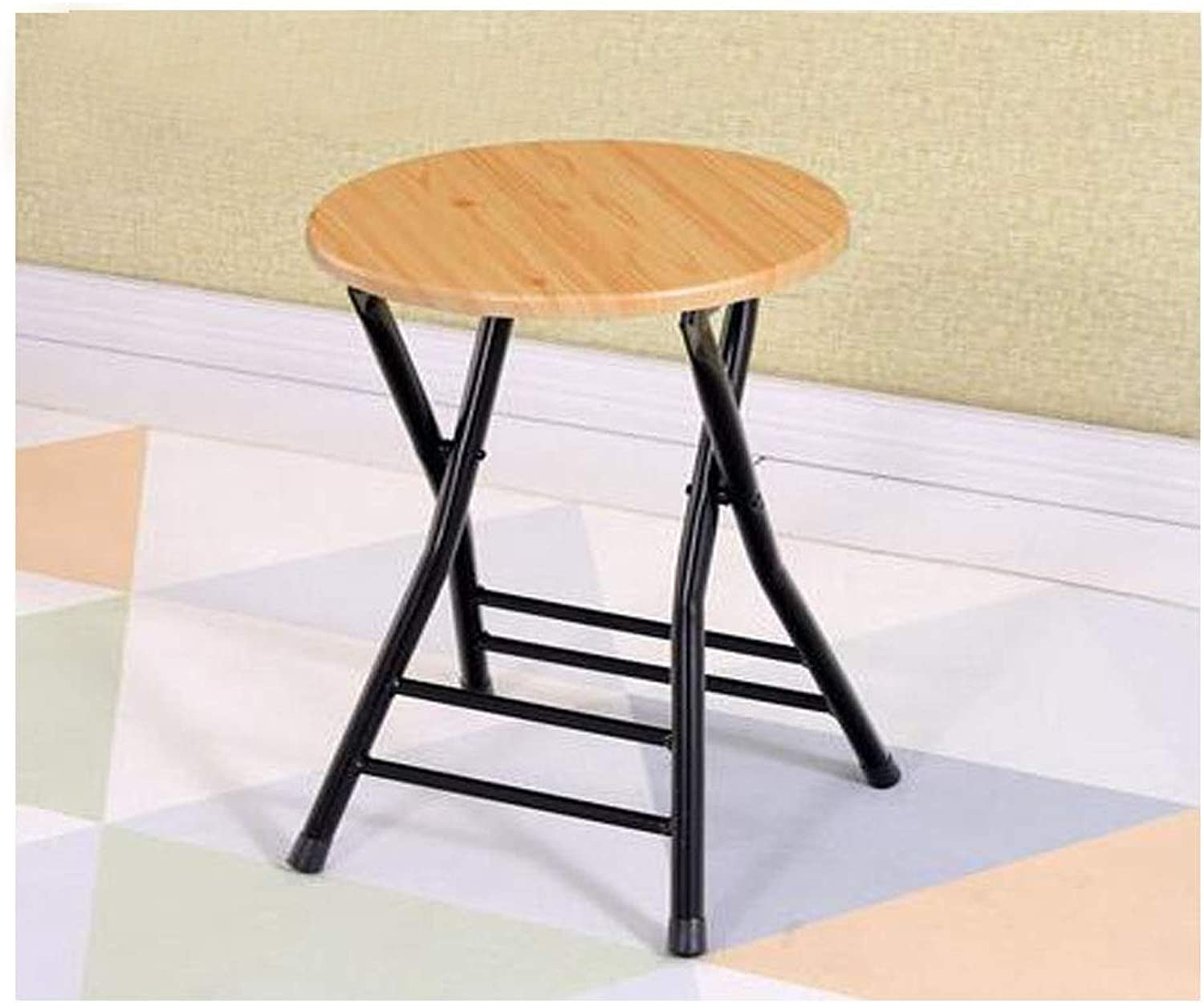 Folding Chair with Metal Frame Log Seat, Foldable Home Office Party Chair (Black) (color   Wood color, Size   46  31cm)