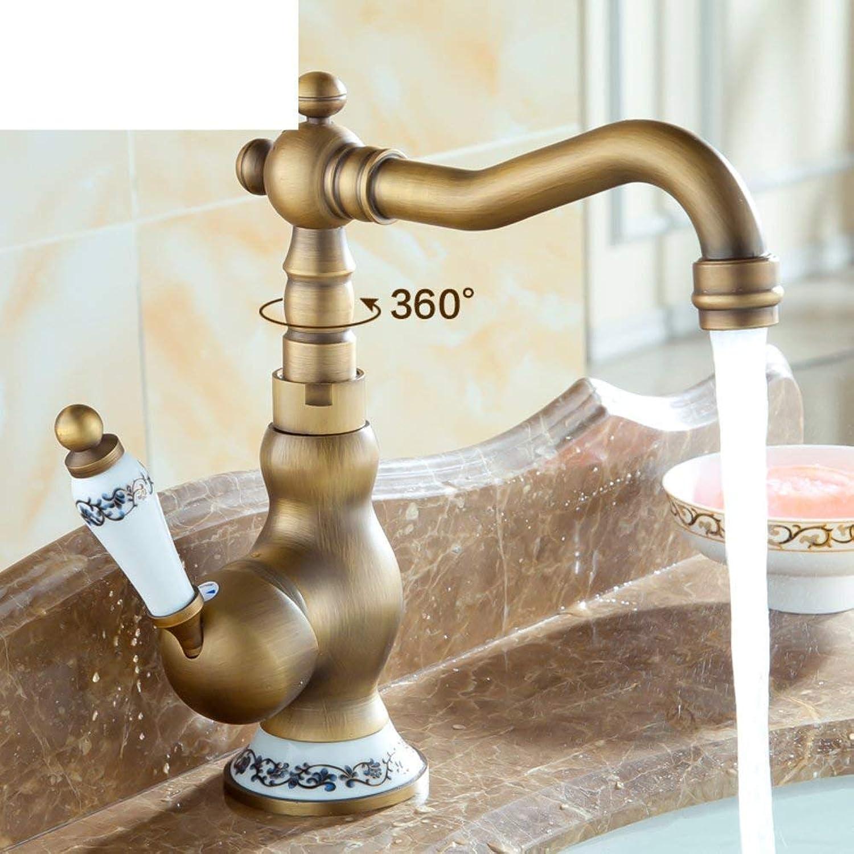 Oudan Full coppper antique faucet Continental retro faucet Kitchen Faucet Vintage faucet Hot and cold (color   -, Size   -)