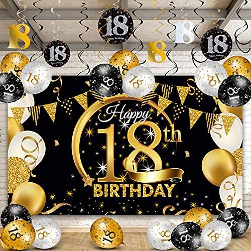 Happy 18th Birthday Party Decorations Kit, Black Gold Glittery Happy 18th Birthday Backdrop Banner Balloon 18th Birthday Hanging Swirls for Men Women 18th Birthday Party Decorations Supplies