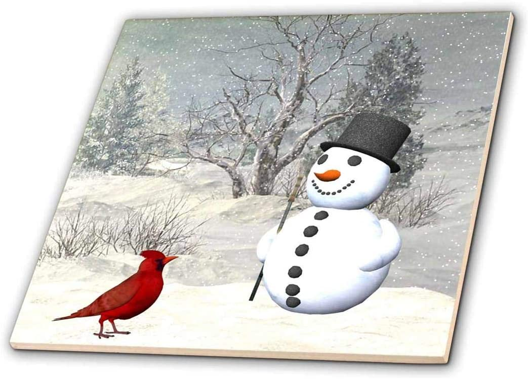 Denver Mall 3dRose ct_18581_4 Cardinal and Snowman Max 77% OFF 1 Ceramic Tile Winter in