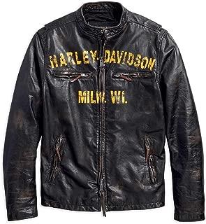 Harley-Davidson Men's Forge Distressed Slim Fit Leather Jacket, Black 97006-18VM