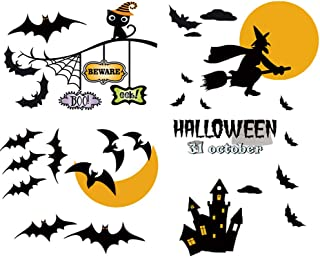 KKSHINE Halloween Window Clings Pumpkins Bats Spider Witch Around a Moon Castle - Trick OR Treat Wall Decal Stickers for Bar Club Kids Room Bedroom Nursery Party Decoration (Bats)
