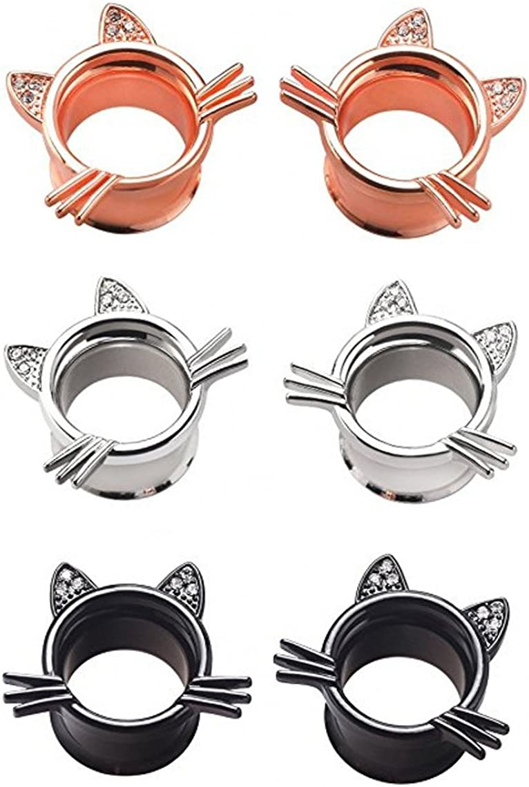 IPINK -Cute Kitten Cat Ear Stretcher 5% OFF Plugs Tunnels Gauges Max 45% OFF Pierci